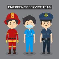 tekenset van het team van de hulpdienst van de jongen vector