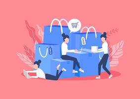 vrouw zitten met tassen en dozen met goederen