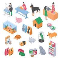 dierenwinkel, dierenarts en isometrische set voor het verzorgen van huisdieren