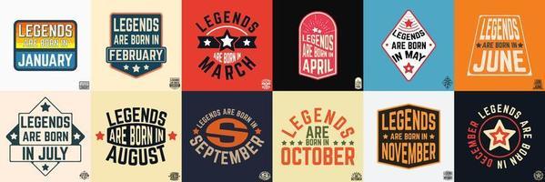 legendes worden geboren in verschillende maanden vintage typografie set