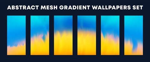 set van blauw geel mesh verloop wallpapers
