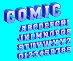 komische alfabet sjabloon met halftoon ontwerp