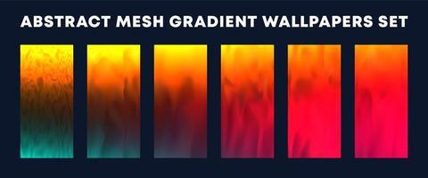 set van rood, geel, groen mesh verloop wallpapers