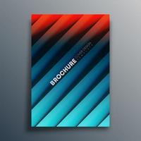 rood blauw verloop voorbladsjabloon met diagonale lijnen vector