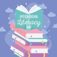 internationale alfabetiseringsdag. leerboek op stapel boeken vector