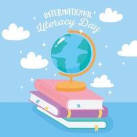 internationale alfabetiseringsdag. schoolbolkaart op boeken vector