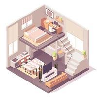 isometrische samenstelling van huis verschillende kamers vector