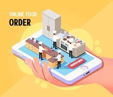 isometrische online eten bestellen serviceconcept vector