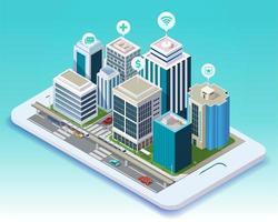 isometrisch ontwerp van slimme stad mobiele app op tablet vector