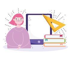 student met bril, apparaat en boeken vector