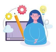 cursus digitale creativiteit van studentenwebsite vector