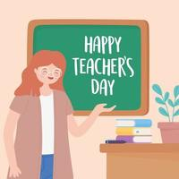 leraar, les, bureau, schoolbord, boeken en plant