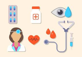 Flat Hospital Elements vector