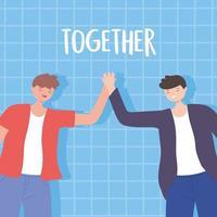 gelukkige jonge mannen hand in hand, mannelijke karakters