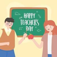 mannelijke en vrouwelijke leraar met appel en schoolbord