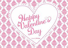 Leuk Roze Damast Valentijnsdag Achtergrond vector