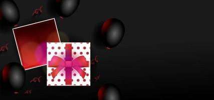 zwarte banner met geschenkdoos en ballonnen