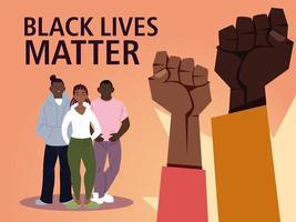 zwarte levens doen er toe met vuisten, meisje en jongens