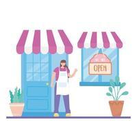 vrouwelijke werknemer in gevelwinkel met bord