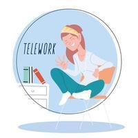 teamwork vrouw op afstand werken vector