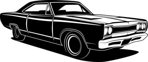 zwart-wit retro kar tekening vector