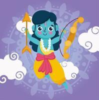 gelukkig dussehra-festival. krijger heer rama met boog vector