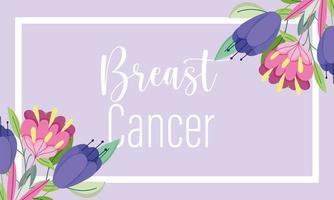 borstkanker bewustzijn maand bloemendecoratie kaart vector