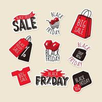zwarte vrijdag handgetekende stickers