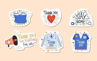 bedankt stickerpakket voor de gezondheidszorg vector