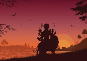 Durga Silhouet Gratis Vector
