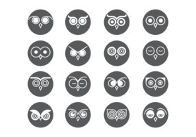 Coruja Eyes Icons Vector