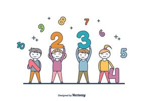 Kids Holding Numbers Vector