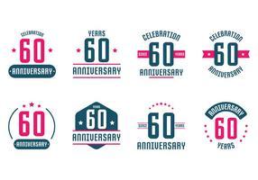 60ste verjaardagskaartjes vector