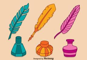 Hand Getrokken Kleurrijk Inktpot Vectoren
