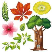 set van geïsoleerde bloemen en boom