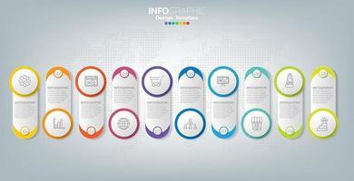 infographic sjabloon en pictogrammen. bedrijfsconcept met processen. vector