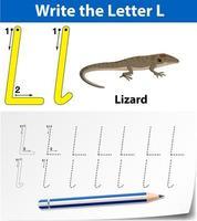 traceer de letter l-sjabloon met hagedis vector