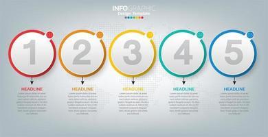 infographic sjabloon met pictogrammen en 5 elementen of stappen.
