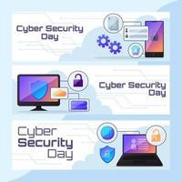webbanner voor cyberbeveiligingstechnologie vector