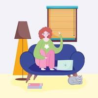 jonge vrouw op de laptop thuis vector