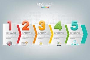 infographic sjabloon en pictogrammen. bedrijfsconcept met processen.