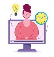 online onderwijsconcept met vrouw en computer vector