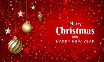 vrolijk kerstfeest met rode kleur en sneeuweffect