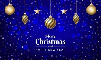 vrolijk kerstfeest met blauwe kleur en sneeuweffect