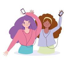 gelukkige meisjes die naar muziek luisteren