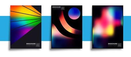 set van abstracte ontwerpen met kleurrijke kleurovergang texturen vector