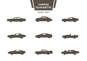 Carros silhouet icon set vector