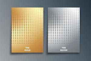 set van goud en zilver achtergrond met halftoon