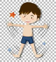 schattige jongen korte broek dragen op transparante achtergrond vector