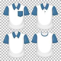 set van verschillende witte shirt met blauwe korte mouwen geïsoleerd op transparante achtergrond